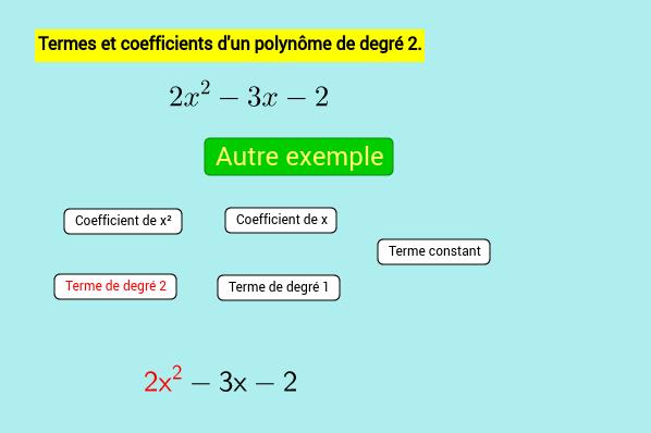 Coefficients,termes d'un polynôme aléatoire de degré 2.