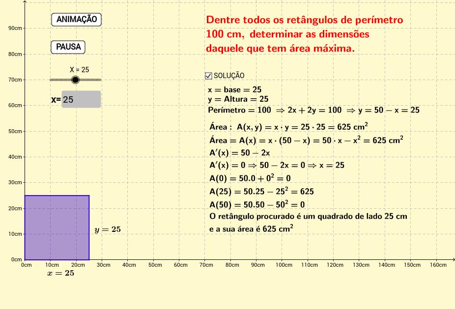 Maximização de um Retângulo de Perímetro Constante.