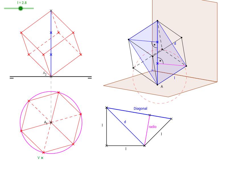 DT2.Diedrico. Poliedros. Hexaedro. Diagonal vertical.