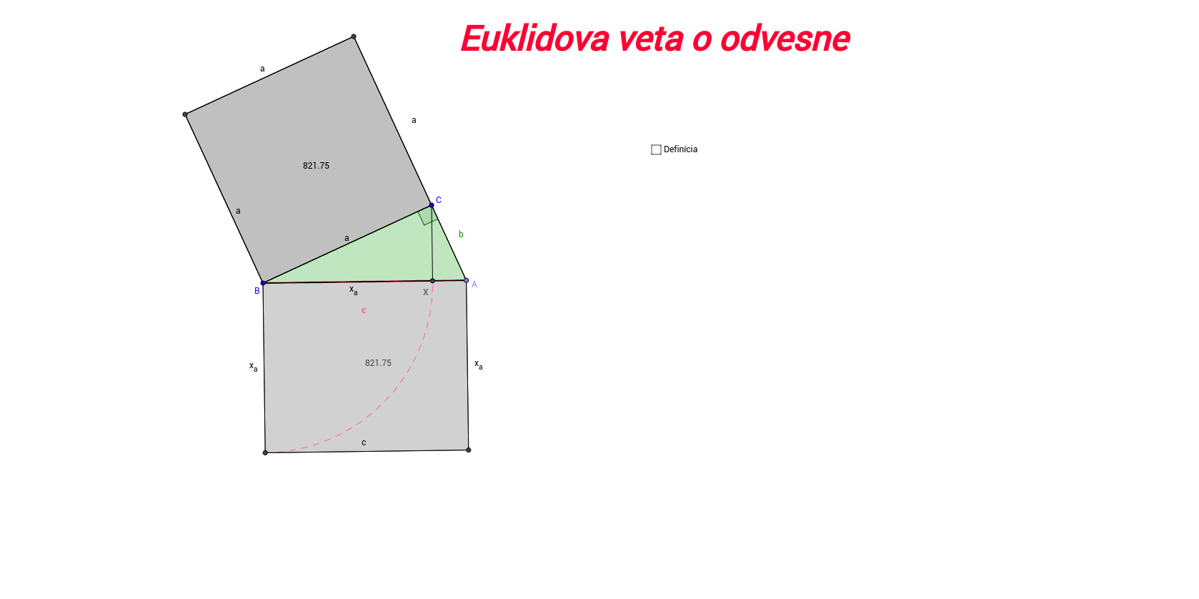 PIP Euklidova veta o odvesne (c) Roman Čabala