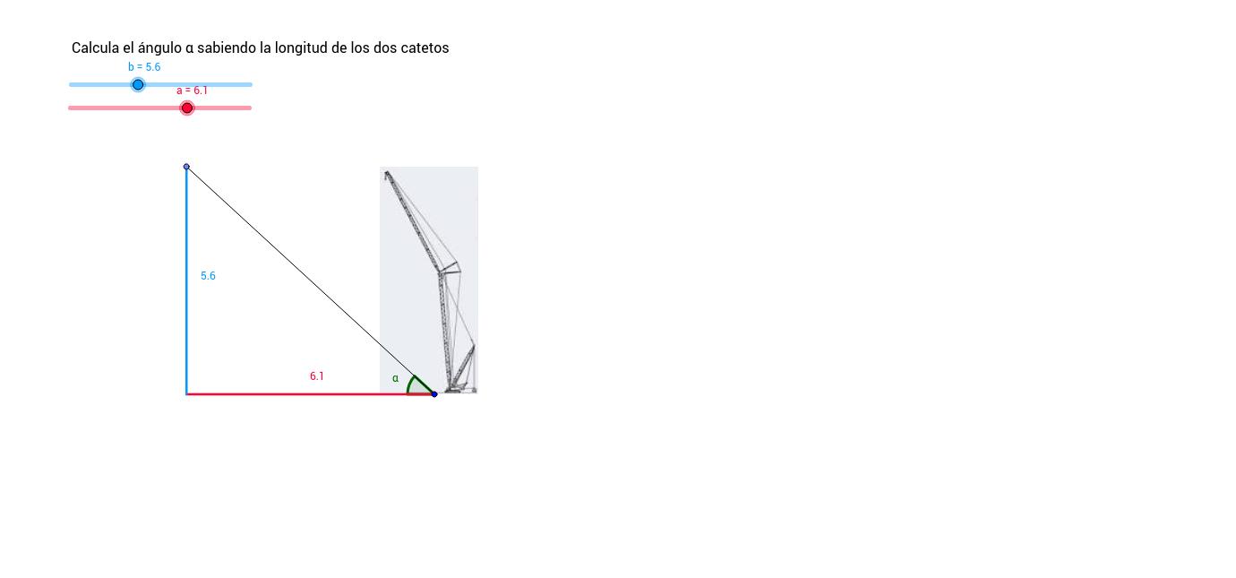 Cálculo de los ángulos de un triángulo rectángulo