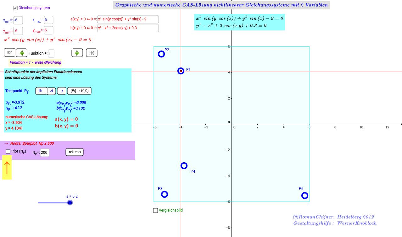 Lösung nichtlinearer Gleichungssysteme: 2 Variablen(HTML5)