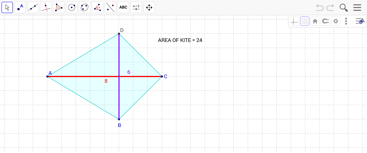 Area Of A Kite Geogebra