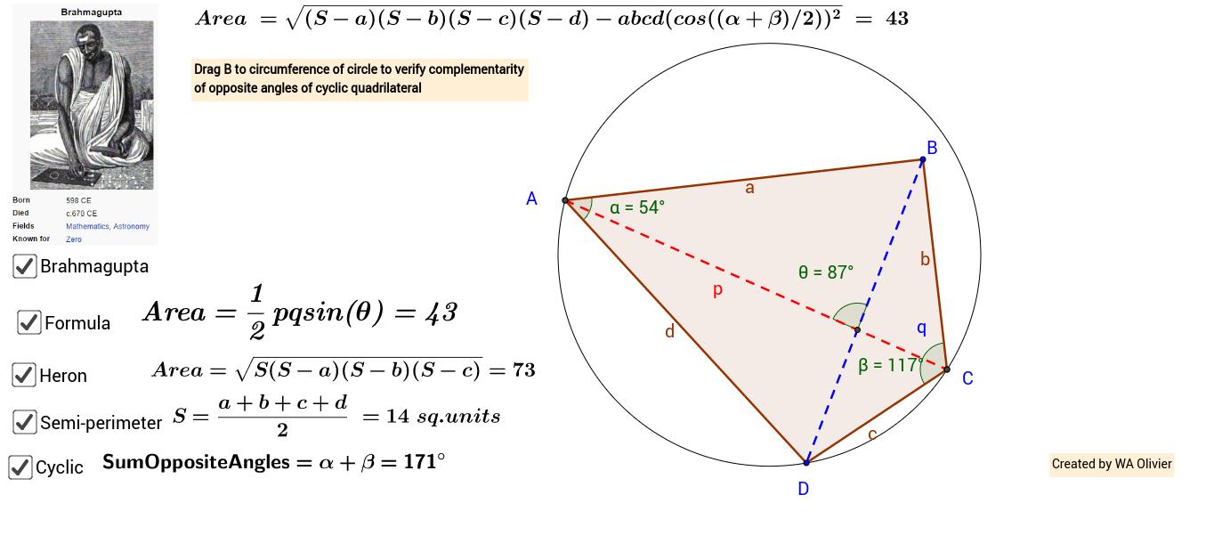 Area of convex quadrilateral