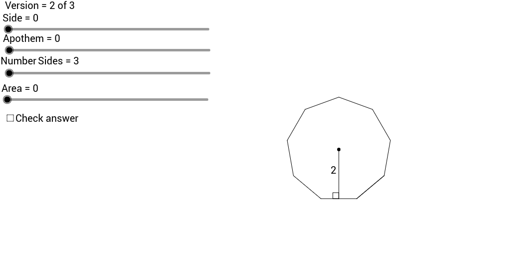 Finding the Area of a regular polygon