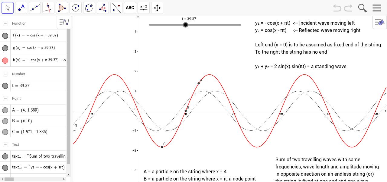 Standing Wave Formation Geogebra