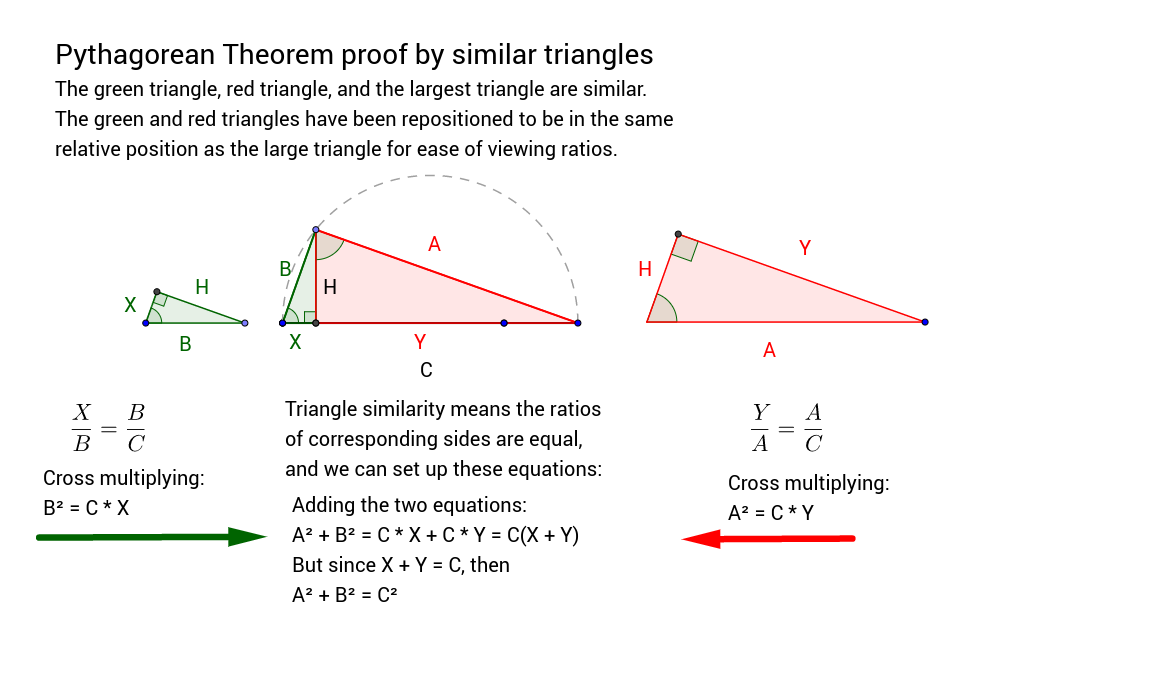 Pythagorean Theorem proof by similar triangles GeoGebra – Pythagorean Theorem Proof Worksheet
