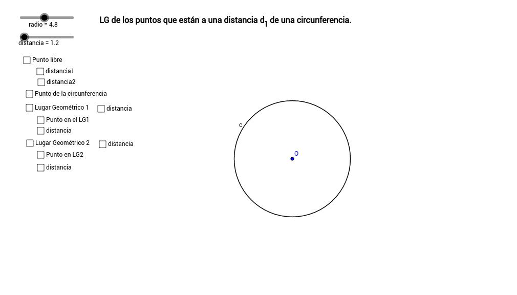 LG de los puntos a una distancia de una circunferencia.