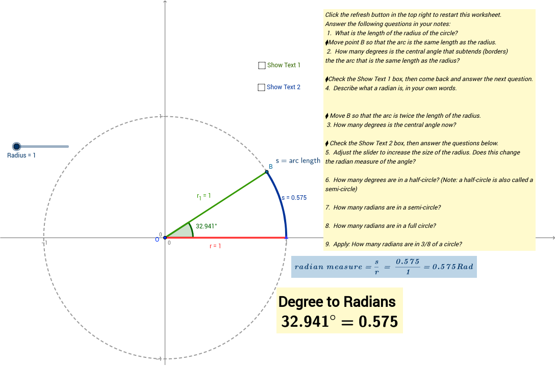 Definition of a Radian GeoGebra – Radian Measure Worksheet