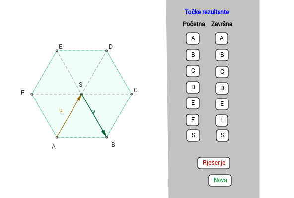 Zbrajanje vektora na šesterokutu - vježba