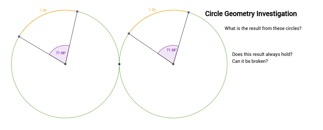 circle geometry - angles and arc lengths of equal circles