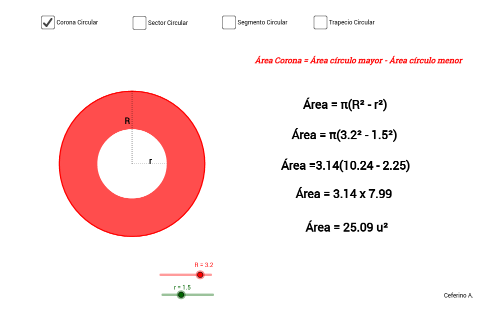 Área de porciones circulares