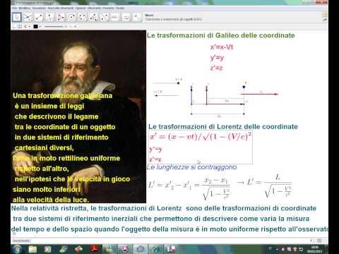 Trasformazioni di Galileo e di Lorentz con GeoGebra