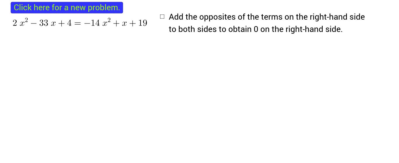 Solving a Quadratic Equation by Factoring - Interactive