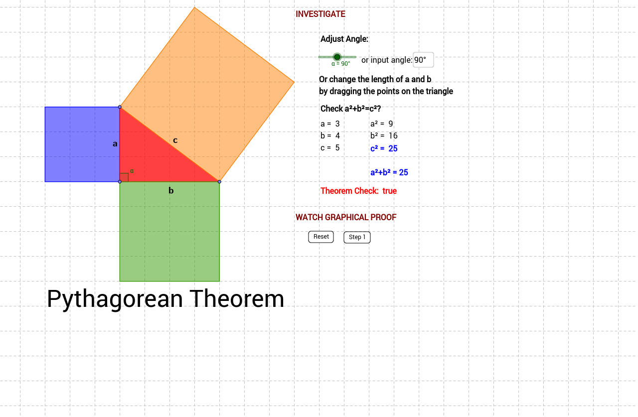Pythagorean Theorem Proofs Without Words GeoGebraBook – Pythagorean Theorem Proof Worksheet