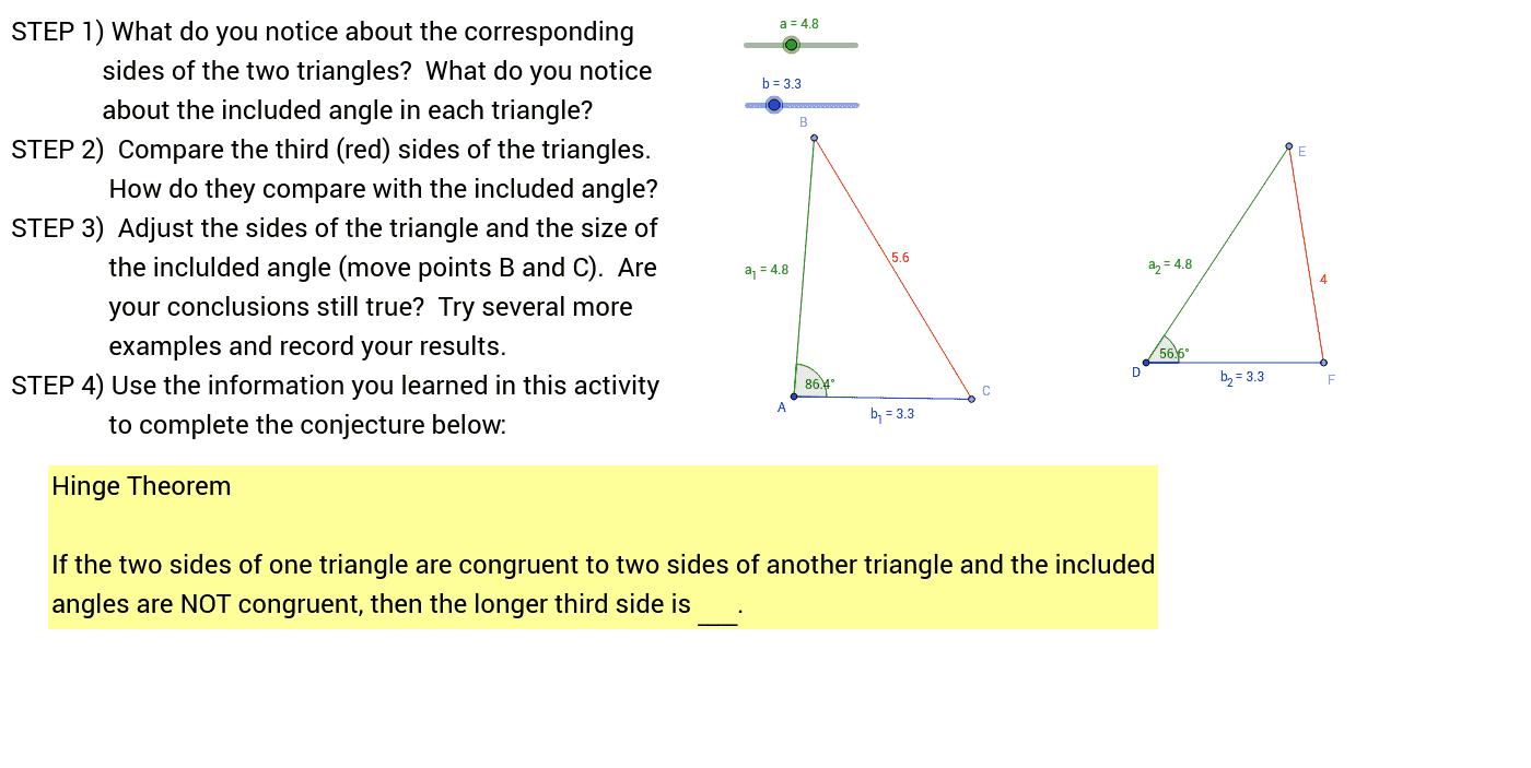 worksheet Hinge Theorem Worksheet investigation 1 the hinge theorem geogebra