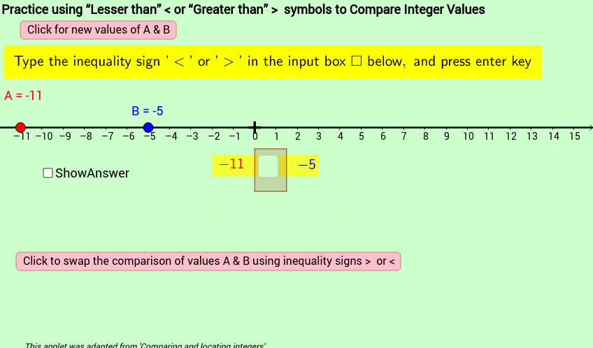 "Practice Comparing Values of Two Integers using ""<"" and "">"""