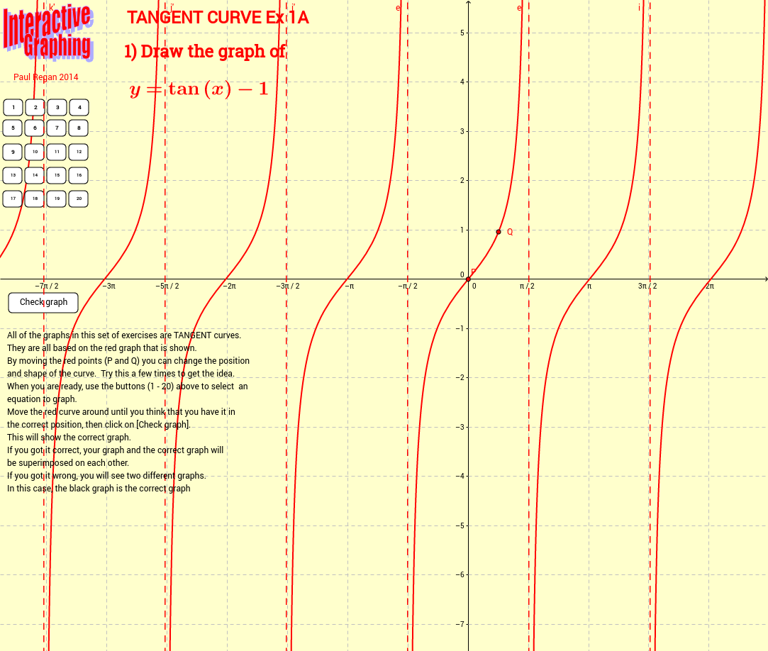 Interactive Graphing Tangent Curve Ex 1A