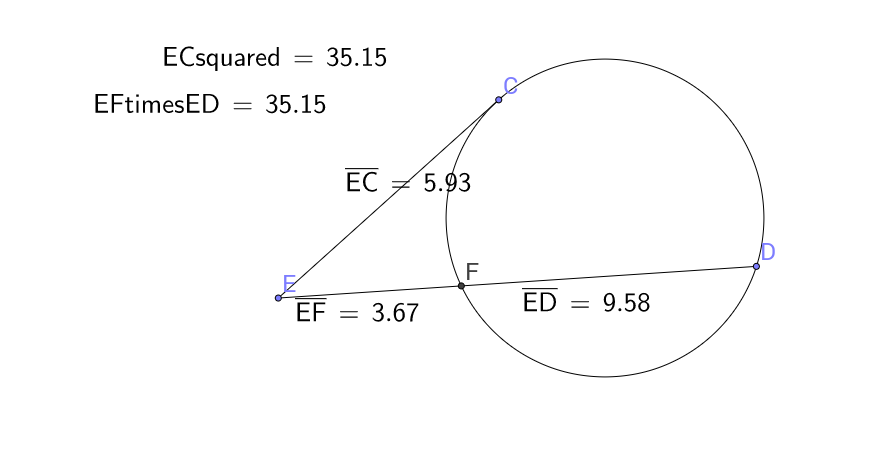 Power Theorem - Tangent & Secant Segments - GeoGebra
