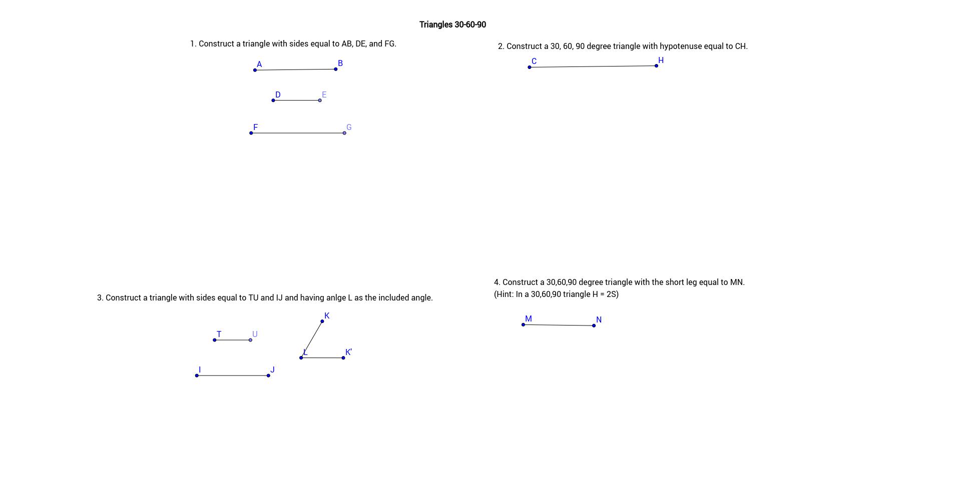 Triangle 30-60-90 (custom worksheet)