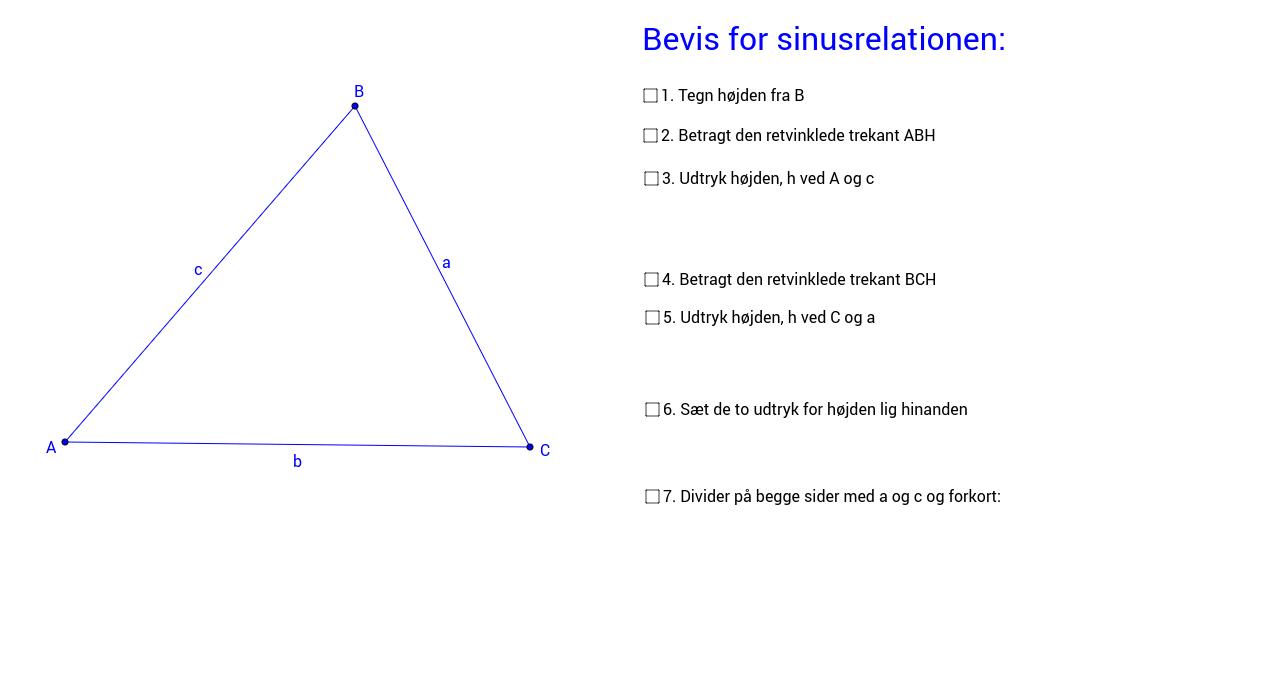 Klikbevis for sinusrelationerne i en spidsvinklet trekant