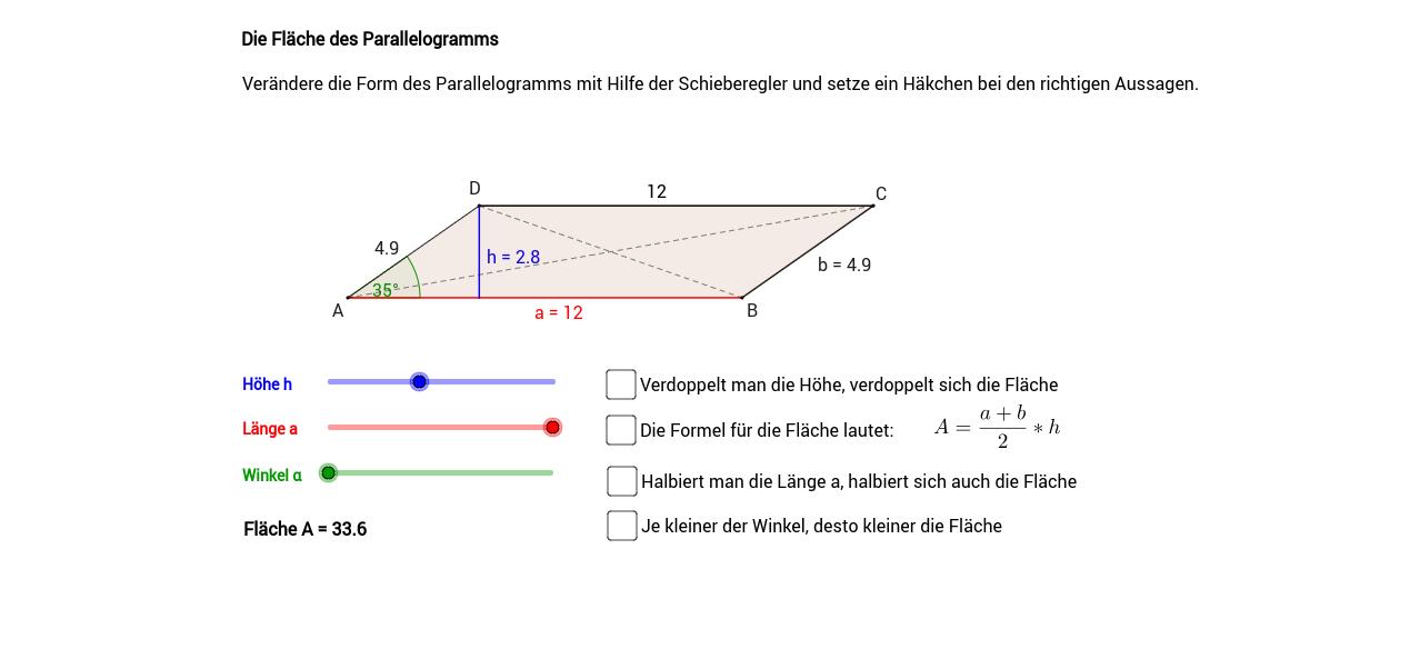 Die Fläche des Parallelogramms