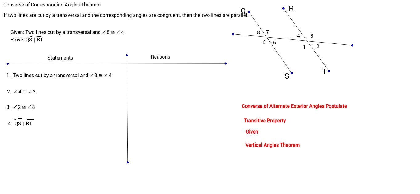Converse Of Corresponding Angles Theorem
