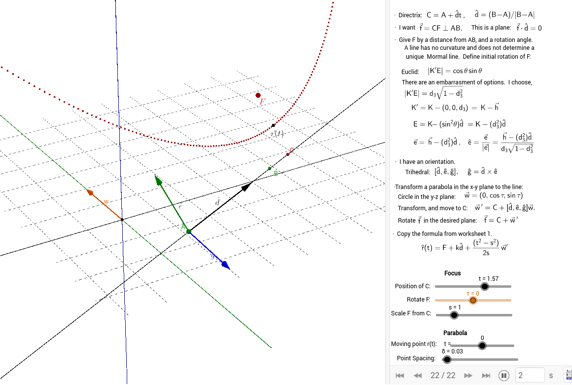 worksheet Parabola Worksheet vector parabola 3d geogebra applet