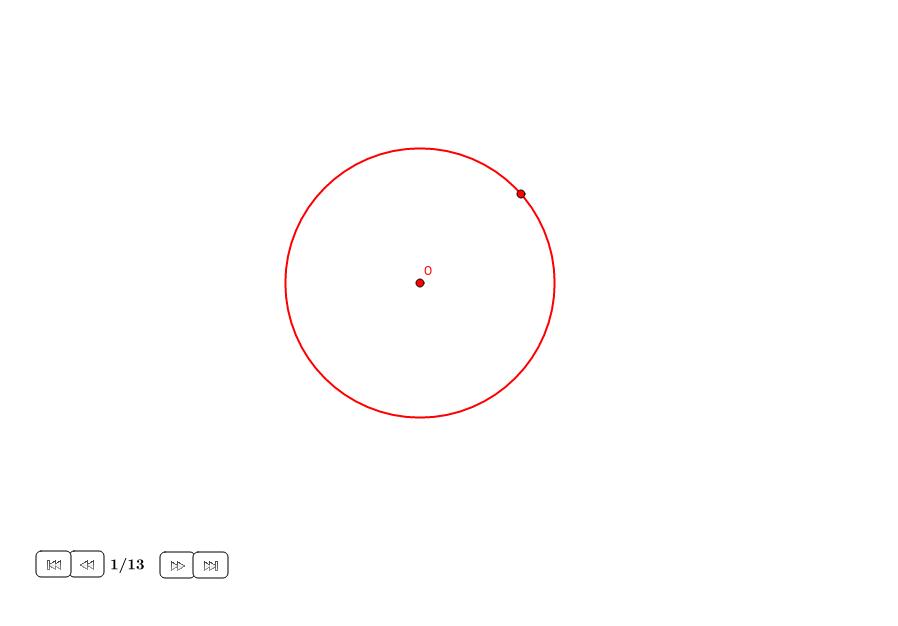 Octógono regular en un círculo