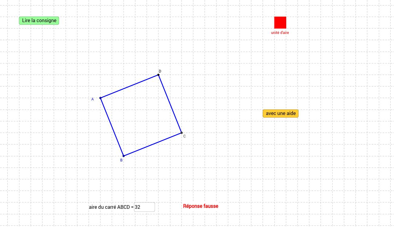 Aire d'un carré construit sur un quadrillage