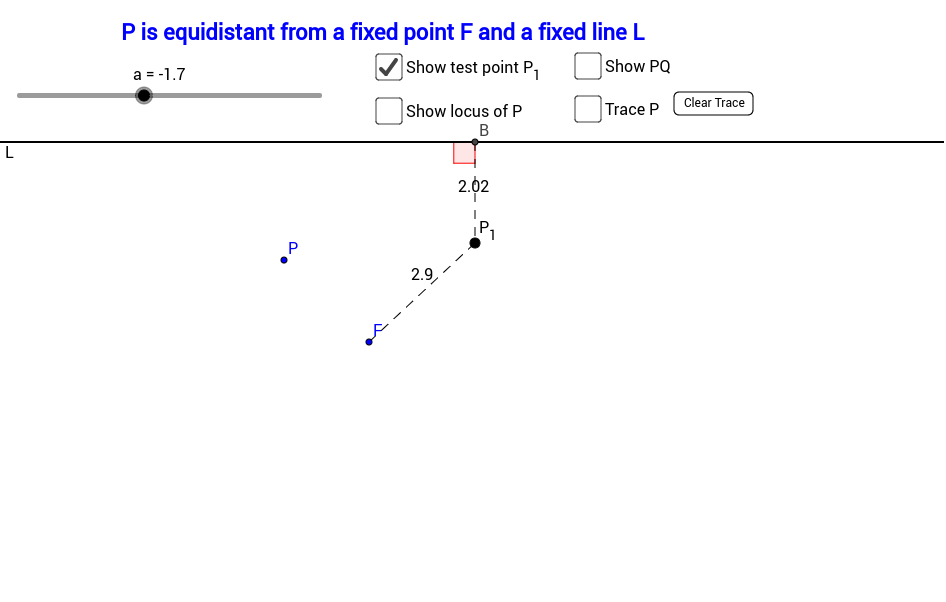 Locus 7 Equidistant from a fixed point and a straight line GeoGebra – Locus Worksheet