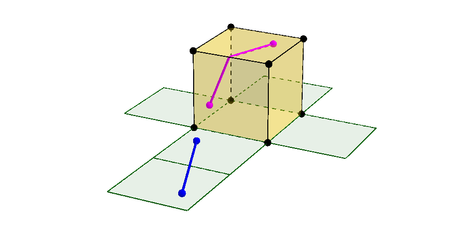 Cube Geometry: Shortest Path Between Points - A Net