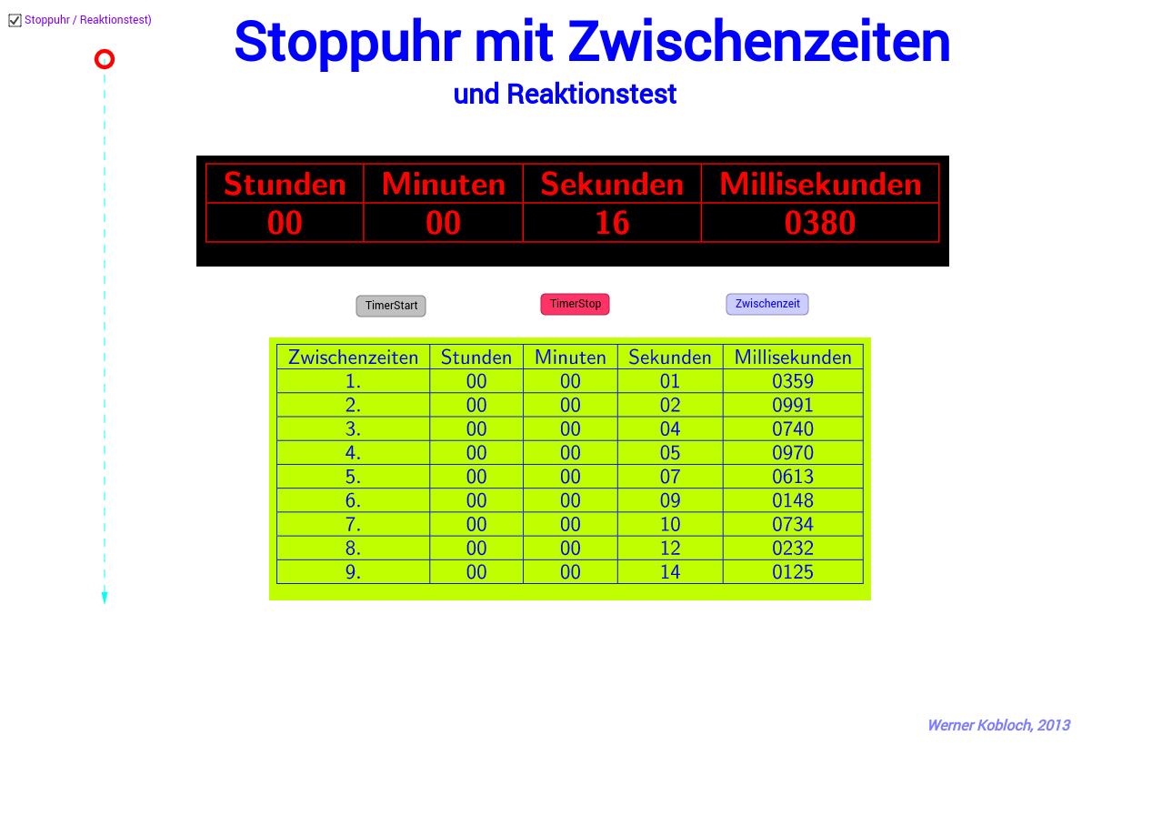 Kopie von Stoppuhr mit Zwischenzeiten
