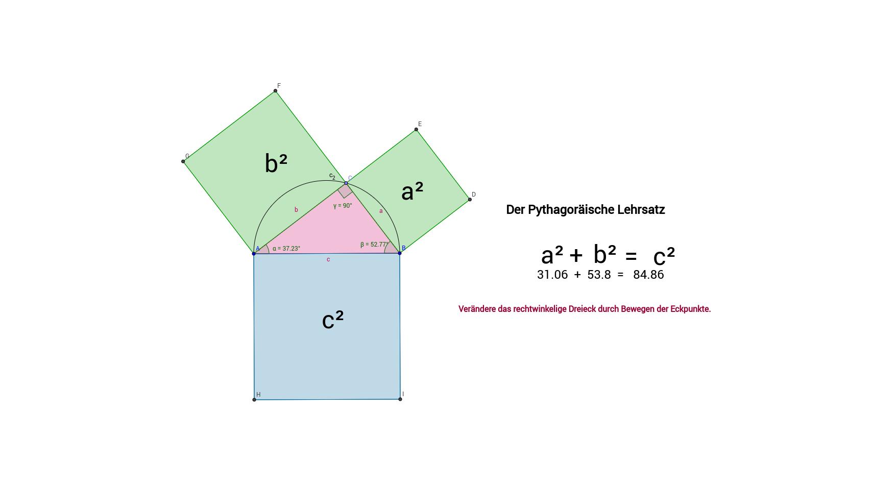 Pythagoräischer Lehrsatz - Flächenberechnung