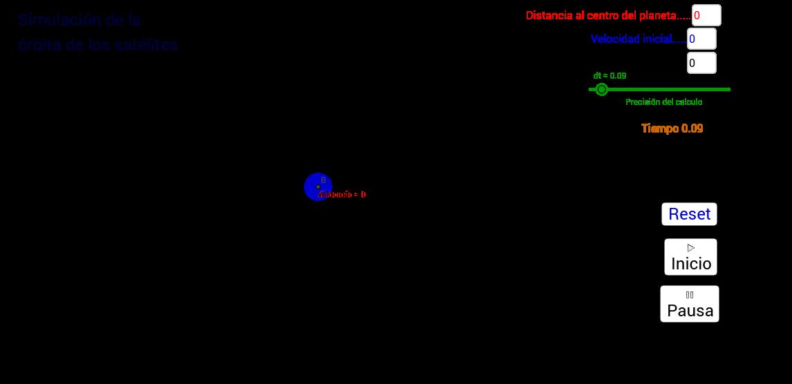 Simulación de órbitas de satélites ó planetas