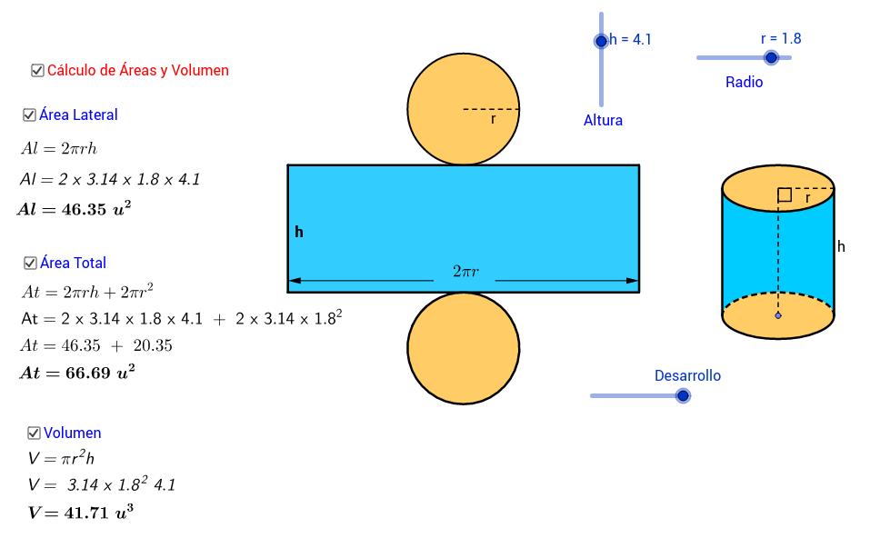 Desarrollo y cálculo de áreas y volumen del cilindro