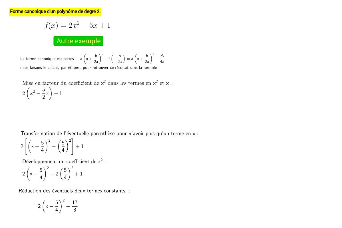 Forme canonique d'un polynôme de degré 2.