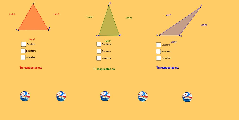 Clasificación de triángulos según sus lados.