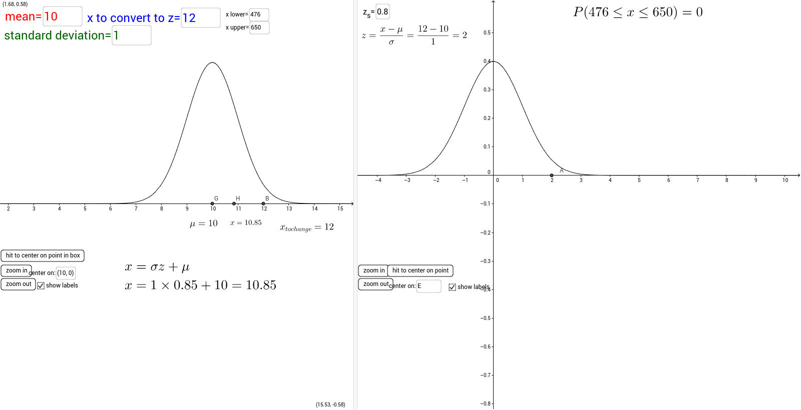 Worksheets Normal Distribution Worksheet normal distribution graphercalculator geogebra