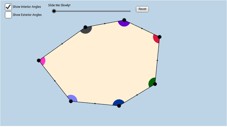 Interior and Exterior Angles of a Heptagon. - GeoGebra