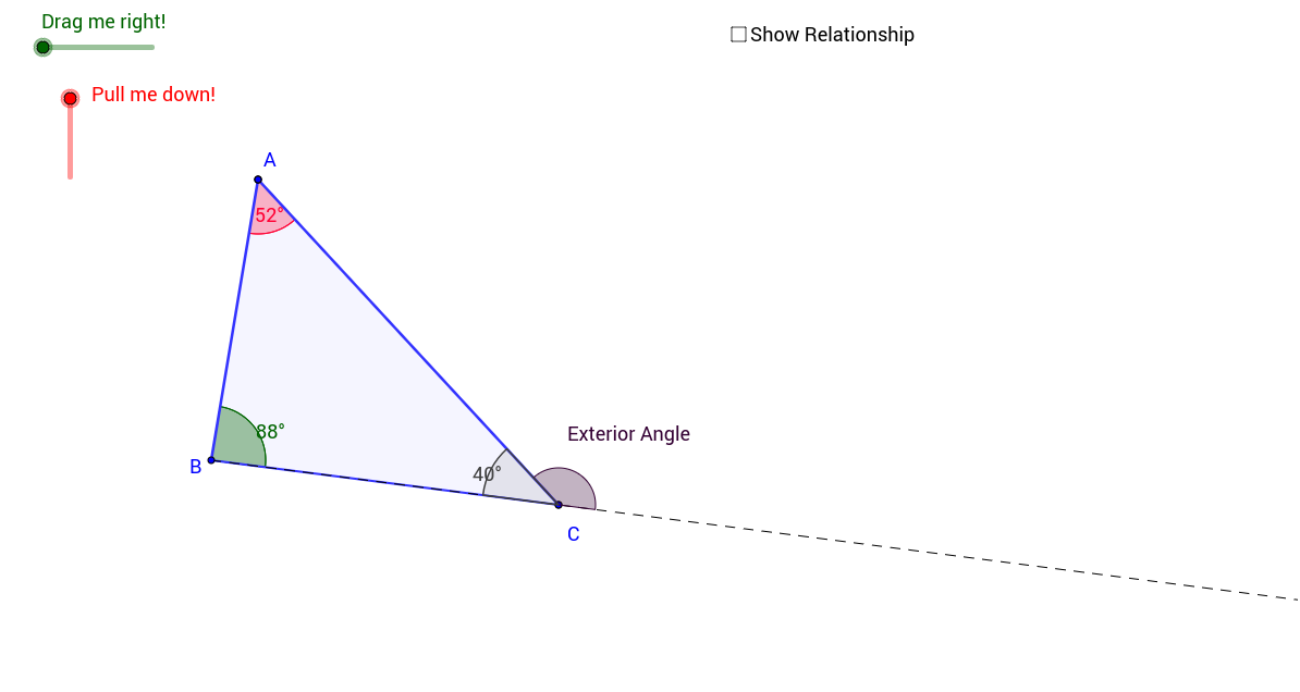 Drag The Two Sliders To Transform The Angle Measures For Angle A And B Of  The Triangle. Compare The Sum Of These Angles To The Exterior Angle At C In  The ...