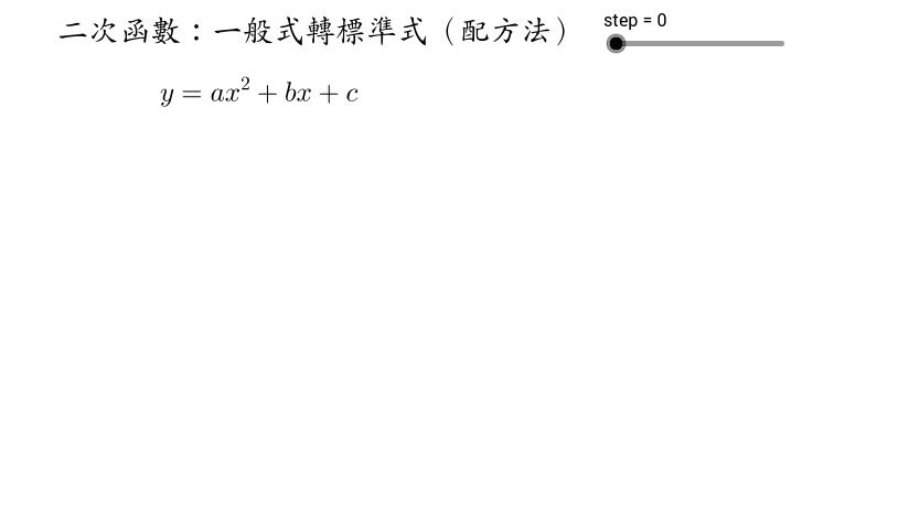 二次函數:一般式轉標準式 (配方法)