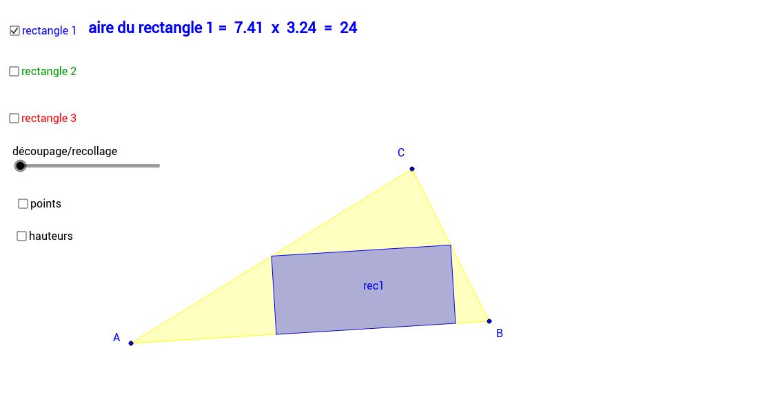 le plus grand rectangle dans un triangle quelconque.