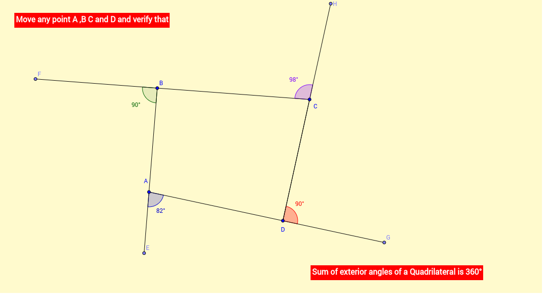 Sum Of Exterior Angles Of Quadrilaterals Geogebra