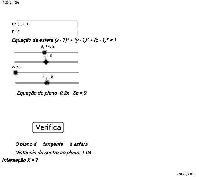 Posição relativa entre esfera e plano