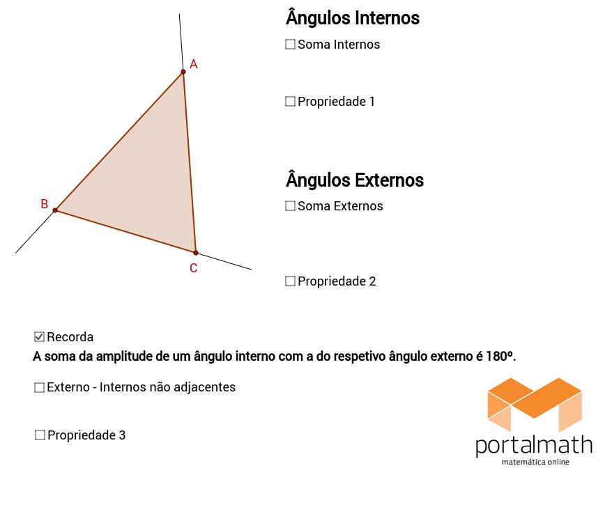 Triângulo - Ângulos Internos / Externos (Propriedades)