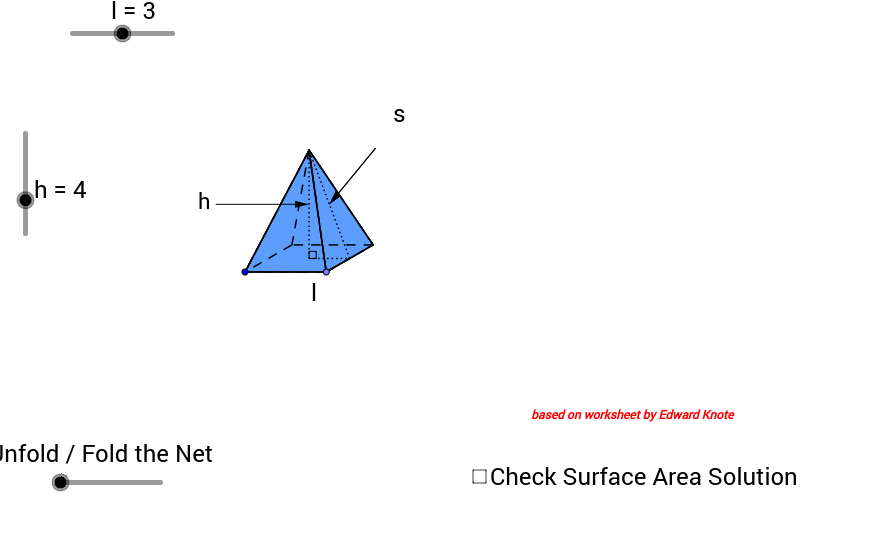 FINDING THE SURFACE AREA OF 3D SHAPES THE PYRAMID GeoGebra – Surface Area of Pyramid Worksheet