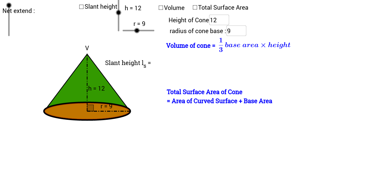 Cone Volume and Total Surface Area