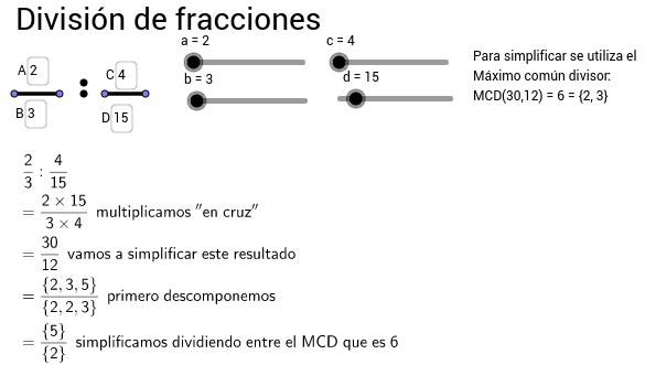 División de fracciones (operaciones paso a paso)