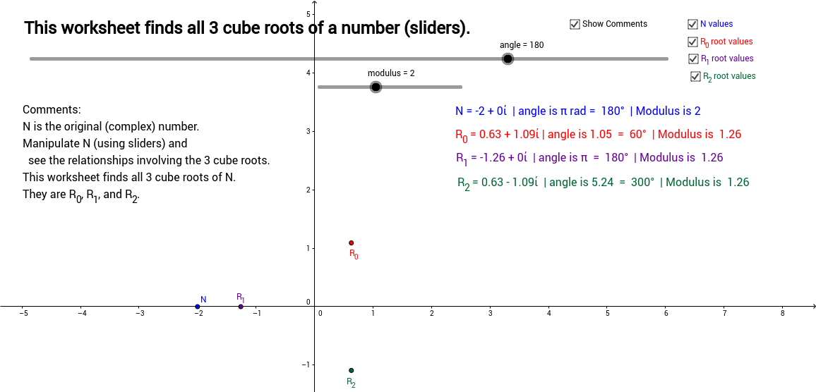Cube Roots of a Complex Number - With Sliders